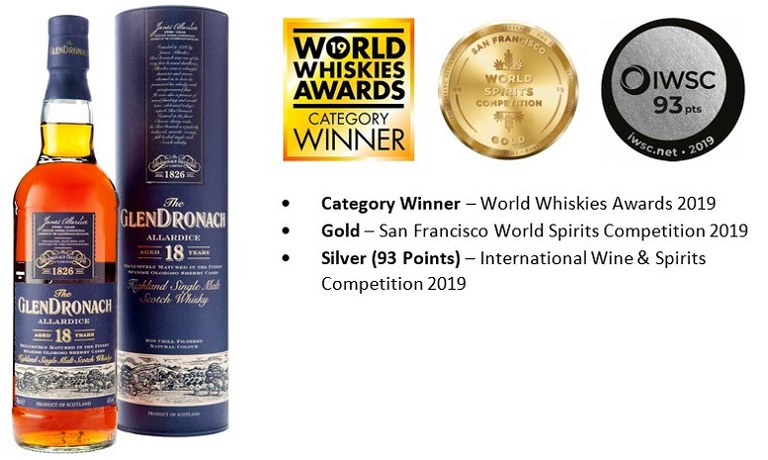 GlenDronach 18 & Awards.JPG
