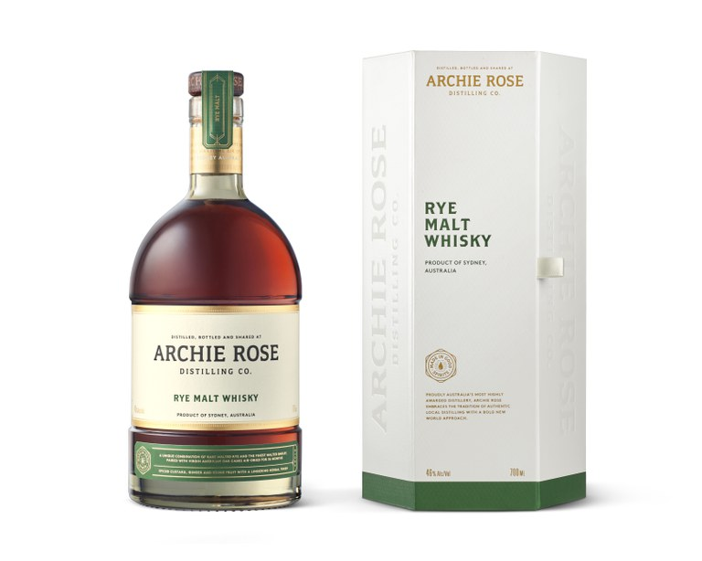 Archie Rose Rye Malt Whisky bottle and box on white background.jpg