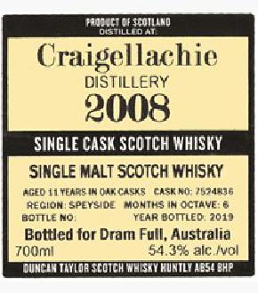 Duncan Taylor 2008 Craigellachie 11 Year Old Single Cask For Dram Full Australia Single Malt Scotch Whisky